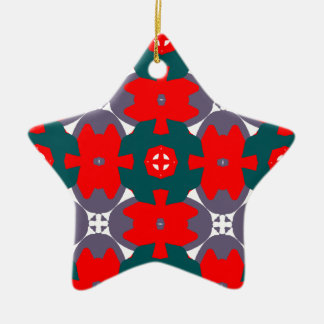 Rot und Forest Green-Stern-Weihnachtsverzierung Keramik Ornament