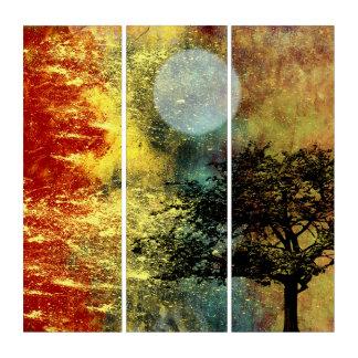 Rot und Gold, Mond und Baum-abstrakte Landschaft Triptychon