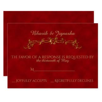Rot und Goldpfau-indische Hochzeits-Wartekarte 8,9 X 12,7 Cm Einladungskarte