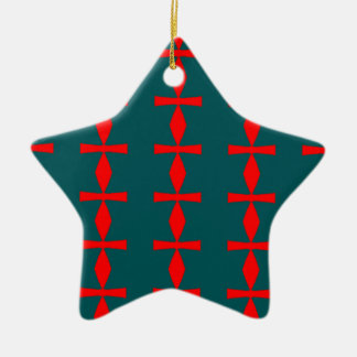 Rot-und Grün-Stern-Verzierung Keramik Ornament