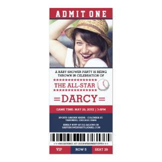 Rot und Marine-Baseball-Baby-Duschen-Party lädt 10,2 X 23,5 Cm Einladungskarte