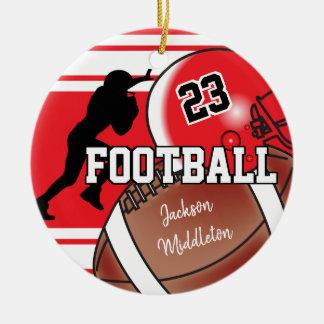 Rot und Schwarzes personifizieren Fußball Rundes Keramik Ornament