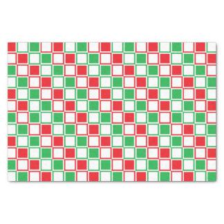 Rot, Weiß und Grün umrissene Quadrate Seidenpapier