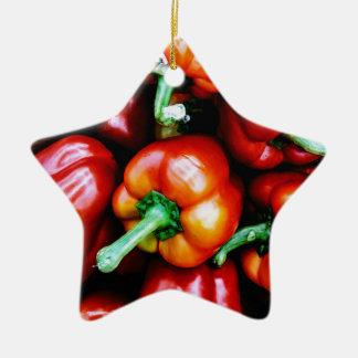 Rote Bell-Paprikaschoten Keramik Ornament