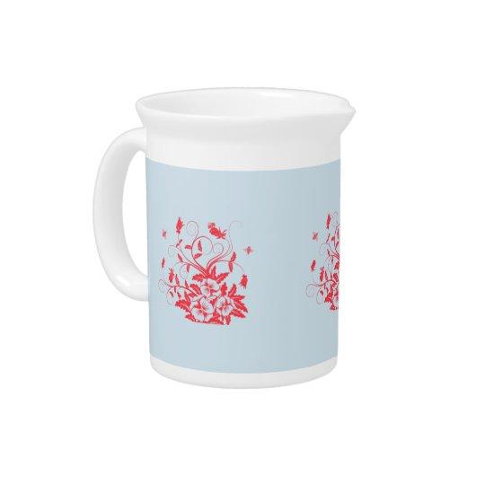 Rote Blumen mit Bienen-großer Teekanne durch Julie Getränke Krug