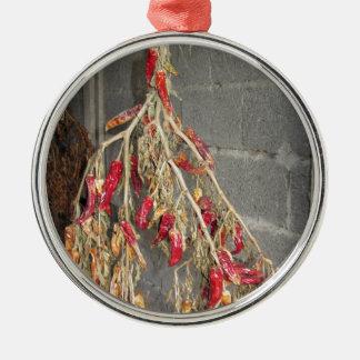 Rote Chili-Paprikaschoten, die hängen, um auf Silbernes Ornament