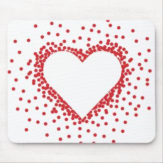 Rote Confetti-Herz-Mausunterlage Mauspads