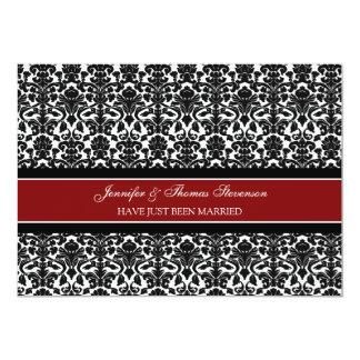 Rote Damast-gerade verheiratete Mitteilungs-Karten 12,7 X 17,8 Cm Einladungskarte