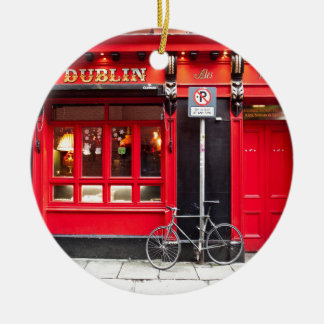 Rote Dublin-Kneipe Keramik Ornament