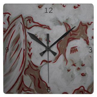 Rote Eagle-Uhr Quadratische Wanduhr