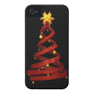 Rote Entwurfskiefer und goldene Bälle Case-Mate iPhone 4 Hüllen