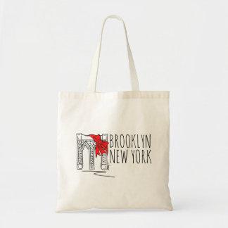 Rote Feiertags-Tasche Brooklyn-Brücken-New York Budget Stoffbeutel
