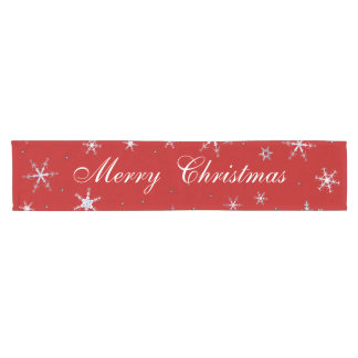 Rote frohe Weihnacht-Schneeflocken Kurzer Tischläufer