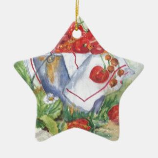 ROTE FRUCHT KERAMIK Stern-Ornament