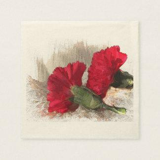Rote Gartennelken auf Brokat Papierserviette