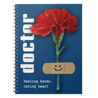 Rote Gartennelken-Entwurfs-Geschenk-Notizbücher Spiral Notizblock