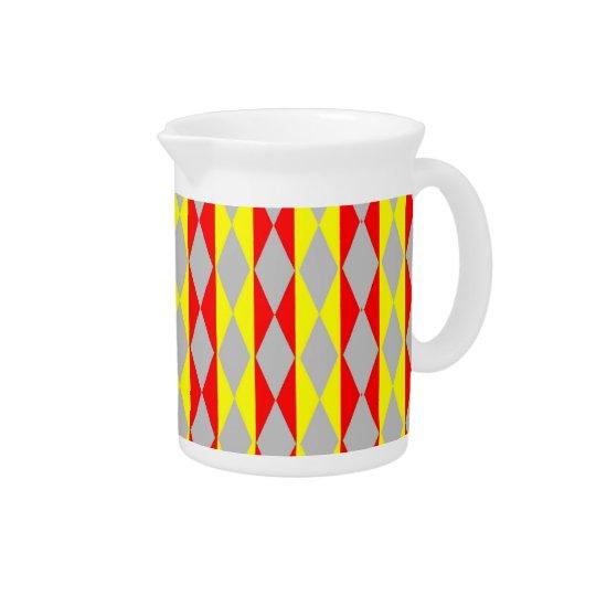 Rote, gelbe und graue Diamanten Getränke Krug