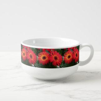 Rote Gerbera-Gänseblümchen Große Suppentasse
