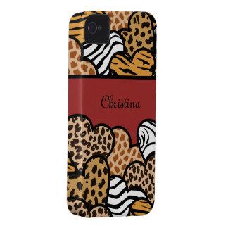 Rote Girly Tierdruckherzen mit einem Namen iPhone 4 Etuis