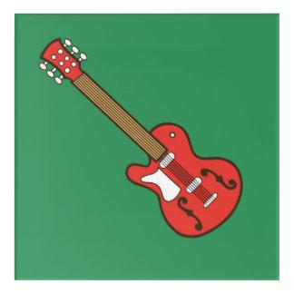 Rote Gitarre auf Grün Acryl Wandkunst