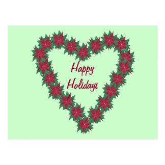 Rote grüne Poinsettia-Herz-frohe Feiertage Postkarte