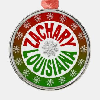 Rote grüne Verzierung Zachary Louisiana Rundes Silberfarbenes Ornament