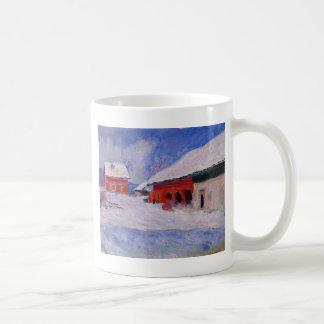Rote Häuser bei Bjornegaard im Schnee, Norwegen Tasse