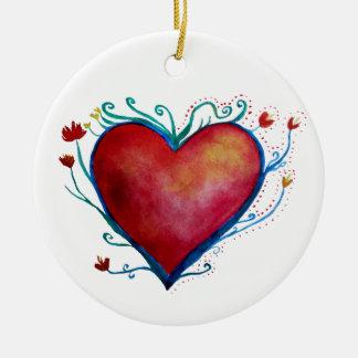 Rote Herz-Aquarell-Kunst-Verzierung Keramik Ornament