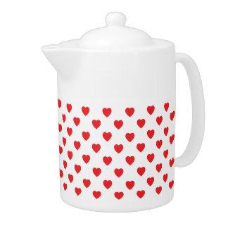 Rote Herz-Tupfen-Muster-Teekanne