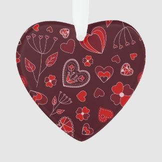Rote Herzen und Blumen Verzierung Ornament