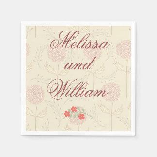 Rote Hochzeits-Blumen Papierserviette