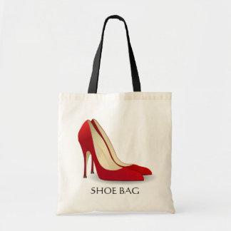 Rote hohe Heels-Schuh-Tasche stilvoll Budget Stoffbeutel