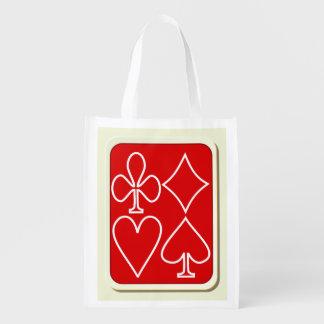Rote Karten-Anzugs-wiederverwendbare Wiederverwendbare Einkaufstasche