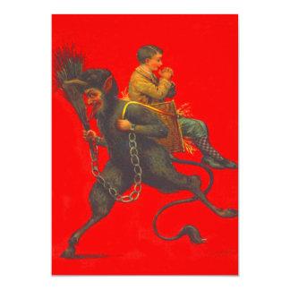 Rote Krampus Entführungs-betender Junge 12,7 X 17,8 Cm Einladungskarte