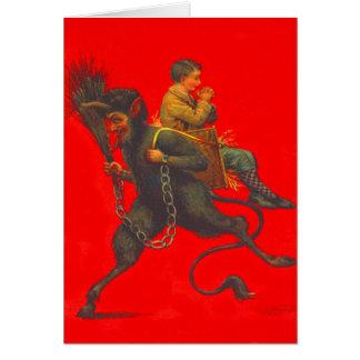 Rote Krampus Entführungs-betender Junge Grußkarte