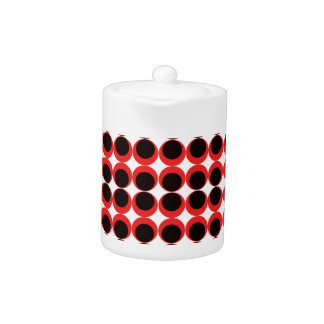 Rote/Kreis-Musterteekanne des Schwarzen Retro