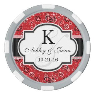 Rote Land-Paisley-Hochzeit Poker Chip Set