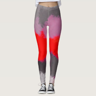Rote lila graue abstrakte Malerei Leggings