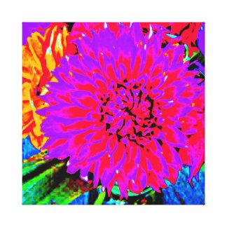Rote, lila, orange Dahlie im Maurer-Glas Leinwanddruck