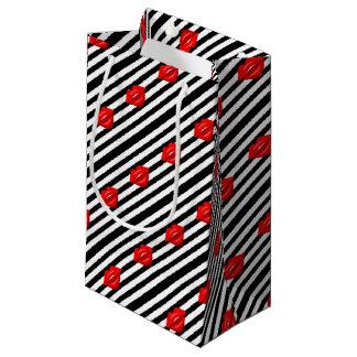 Rote LippenSchwarz-weiße gestreifte Geschenktasche Kleine Geschenktüte