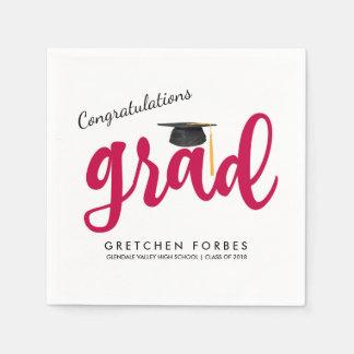 Rote Mädchen-Glückwunsch-Absolvent-Klasse von Papierservietten