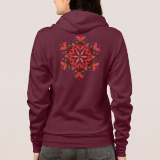 Rote Mandala-Blume Hoodie