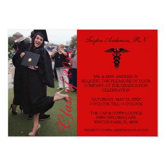 Rote medizinische RN-SchulAbschluss-Mitteilung 12,7 X 17,8 Cm Einladungskarte