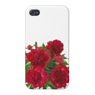Rote mit Blumenpfingstrosen Schutzhülle Fürs iPhone 4