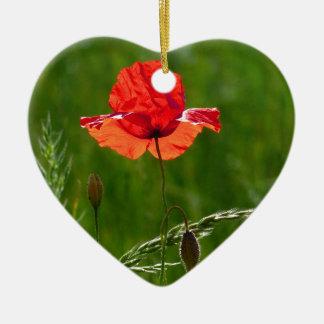 Rote Mohnblume im Sommer Keramik Herz-Ornament