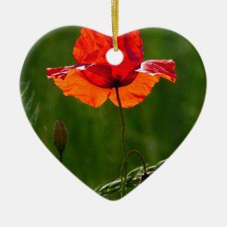Rote Mohnblume in Sommer 02 Keramik Herz-Ornament
