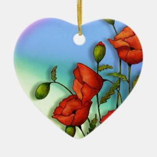 Rote Mohnblumen auf Mehrfarbenhintergrund: Kunst Keramik Herz-Ornament