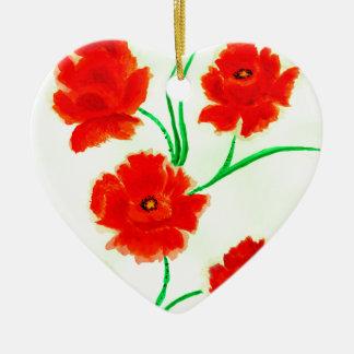 Rote Mohnblumen-Blumen Keramik Herz-Ornament