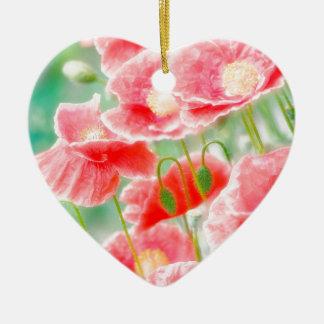 Rote Mohnblumen Keramik Herz-Ornament