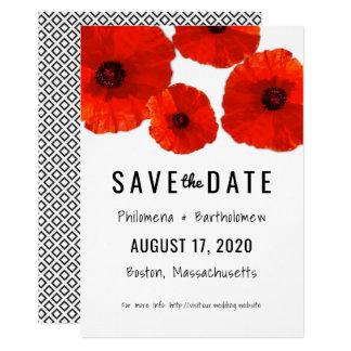 Rote Mohnblumen-Save the Date Mitteilung Karte